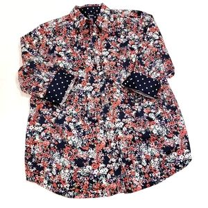 Chaps Floral 3/4 Sleeve Button Down Blouse Top